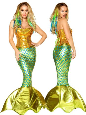 Women's Siren of the Sea 2-Piece Mermaid Cosplay Costume Made in USA - DeluxeAdultCostumes.com