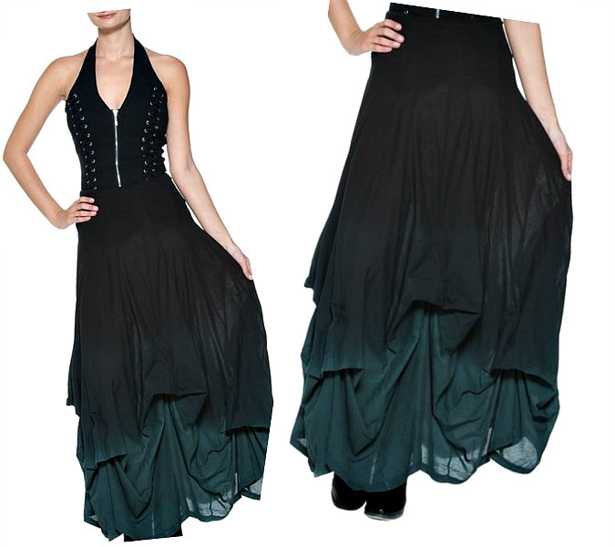Women's Long Black to Teal Ombre Layered Ruched Skirt - DeluxeAdultCostumes.com
