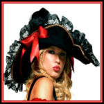 Sexy Vixen Black Swashbuckler Pirate Hat with Gold Braid, Black Lace, and Red Satin Bow