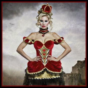 Deluxe Sexy Queen of Hearts Corset Dress Costume - DeluxeAdultCostumes.com