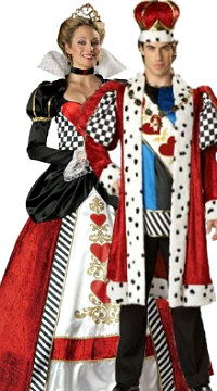 Queen and King of Hearts Couple Costume - DeluxeAdultCostumes.com