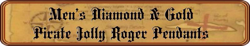 Men's Diamond & Gold Pirate Jolly Roger Pendants - DeluxeAdultCostumes.com
