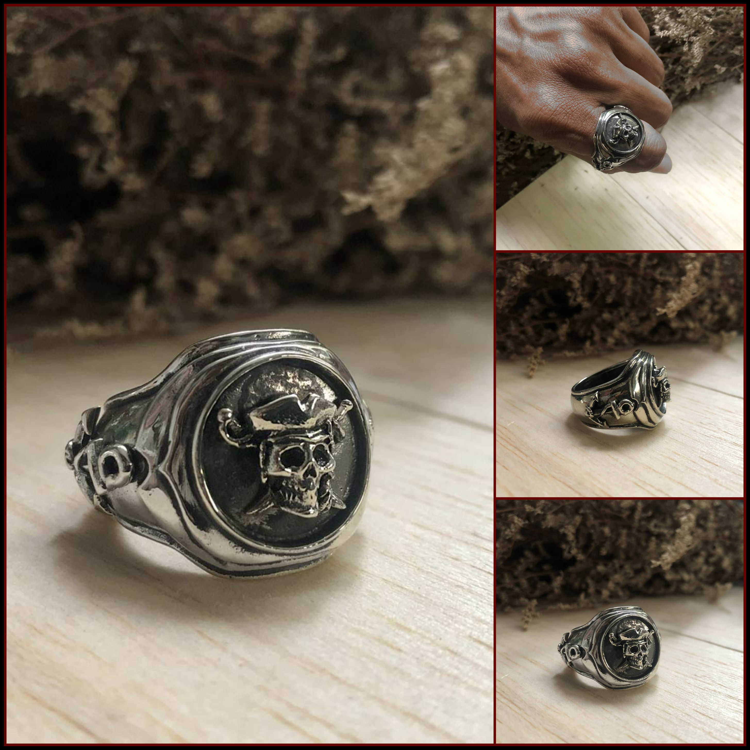 Men's Handmade Silver Pirate Scull and Crossbones, Anchor and Ship's Wheel Ring - DeluxeAdultCostumes.com
