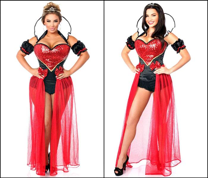 Women's Sexy Red Queen Long Glitter Skirt 5-Piece Fairy Tale Costume